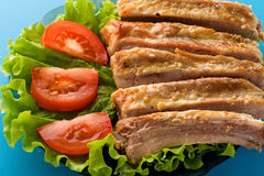 Pork ribs in plate Royalty Free Stock Photos