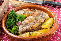 Pork Ribs with Potatoes and Broccoli Stock Photos