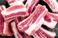Pork ribs, raw meat. With bones Royalty Free Stock Photography