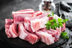 Pork ribs, raw meat. With bones Royalty Free Stock Images