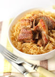 Pork ribs with sauerkraut Royalty Free Stock Images