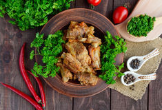 Pork ribs steamed with carrots, parsley decorated Royalty Free Stock Photo