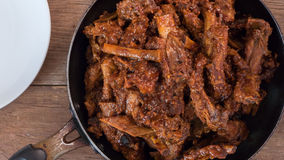 Pork ribs stew on old wood Royalty Free Stock Images