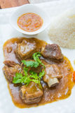 Pork ribs with sweet sauce and rice Royalty Free Stock Photos