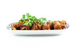 Pork ribs with sweet sauce  on white background Stock Image