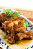 Pork ribs with sweet sauce  on white background Royalty Free Stock Image