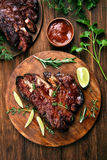 Pork ribs, top view stock photos