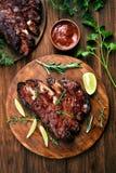 Pork ribs, top view Stock Photos