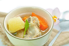 Pork ribs and vegetable soup Royalty Free Stock Photography
