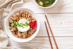 pork rice bowl with egg (Donburi) - japanese food stock photo