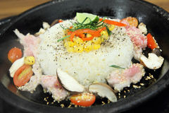 Pork rice and herb in hot pan Stock Images