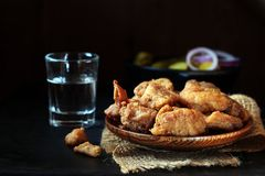 Pork rind with brandy stock image