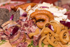 Pork rind, sausage Royalty Free Stock Images