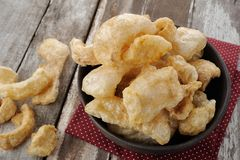 Pork rind. Pork scratchings, Pork crackling in Thailand Royalty Free Stock Photo