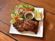 Pork rip grill Steak and French fries Stock Image