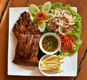 Pork rip grill Steak and French fries Stock Photo