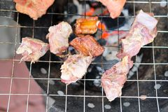 Pork rips grilled on the charcoal stove Stock Photography
