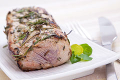 Pork Roast. Delicately flavoured pork roast prepared with fresh herbs and seasoning royalty free stock photos