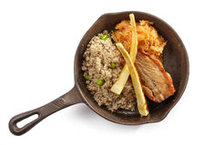 Pork roast and barley porridge Royalty Free Stock Photo