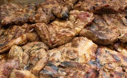 Pork roast, close-up, meat dish, background, beefsteak barbecued, beef. Pork roast, close-up, meat dish, background beefsteak barbecued royalty free stock photography