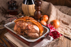 Pork roast with crackling Royalty Free Stock Photography