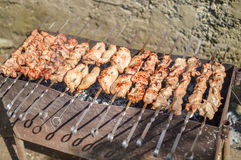 Pork roast. On the heat from the coals with the smell of smoke royalty free stock images