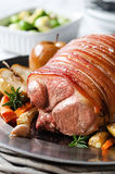 Pork roast main course with vegetables Royalty Free Stock Photos