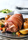 Pork roast main course with vegetables Stock Images
