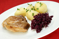 Pork roast with potatoes and red cabbage Royalty Free Stock Photography