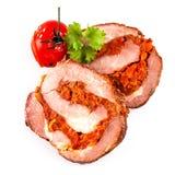 Pork roast slice with tomato Royalty Free Stock Photos