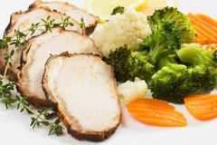 Pork roast slices with vegetables Royalty Free Stock Image