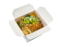 Pork roasted and udon-noodle. take-out food. Take-out food.Pork roasted and udon-noodle.chinese cuisine in take-out box Stock Images