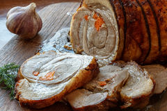 Pork roll with roasted vegetables recipe royalty free stock photography