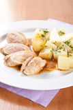 Pork rolls with sauerkraut and boiled potatoes Royalty Free Stock Images