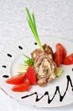 Pork rolls with vegetables Stock Image