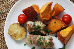 Pork rolls with vegetables Royalty Free Stock Photo