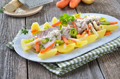 Pork with root vegetables Stock Photography