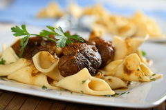 Pork roulade with pasta. Decorated with parsley Royalty Free Stock Images