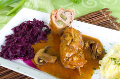 Pork roulade of red cabbage. Homemade Pork roulade with mashed potatoes and red cabbage Royalty Free Stock Photo