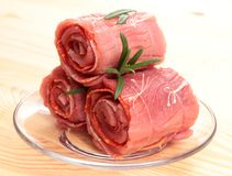 Stack of raw roulade Stock Photo