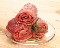 Stack of raw roulade Royalty Free Stock Photos
