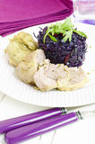 Pork Rump Cutlet With Red Cabbage And Arugula Stock Photo