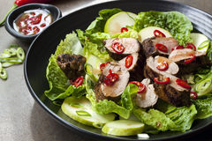 Pork Salad with Chili Pear and Cos Lettuce royalty free stock photo