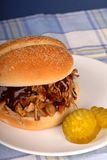 Pork sandwich with pickles Stock Images