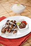 Pork satay. A shot of pork satay dish on white plate stock photos