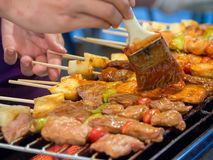 Pork satay - bbq. Stock Photography