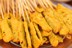 Pork satay grill Royalty Free Stock Images