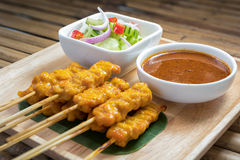 Pork satay,Grilled pork served with peanut sauce or sweet and so Royalty Free Stock Photography