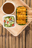 Pork satay,Grilled pork served with peanut sauce or sweet and so Royalty Free Stock Photos