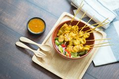 Free Pork Satay, Grilled Pork Served With Peanut Sauce Or Sweet And Sour Sauce Stock Photo - 145526690